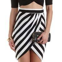 Striped Tulip Slit Wrap Skirt by Charlotte Russe - Black/White