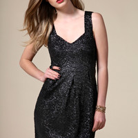Boutique Marie All Over Sequin Sweatheart Neck Cocoon Dress