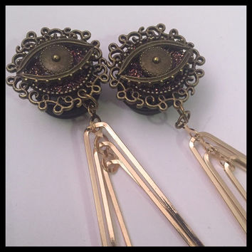 PICK SIZE  All Seeing Eye Triangle  Girly Ear Guages Dangle Plugs
