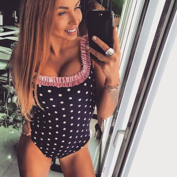 Wine Black Polka Dot U Neck Tank Bodysuit