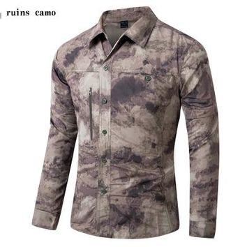 Hiking Shirt camping Detachable Sleeve Camping Hiking Blouse Men Army Military Tactical Quick Dry Outdoor Trekking Fishing Hunting T-Shirt KO_17_1