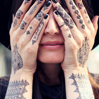 Black Henna Temporary Tattoos. Mehndi. 2 sheets