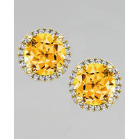 Kiki McDonough Grace 18k Gold Citrine & Diamond Earrings