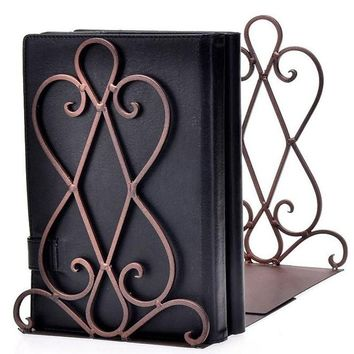 One pair(2pcs) Black Metal Foldable Vintage Bookends/Book ends Home Ornaments (BOOKS ARE EXCLUDED)
