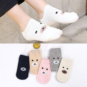 5pairs/lot Super Cute Women Bear Socks Candy Color Short Sock Cotton Cartoon Printed Invisible Slippers Low Cut