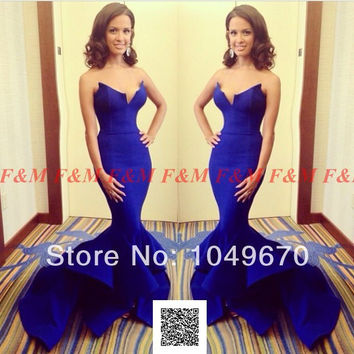 2014 Elegant Rocsi Diaz Emmy Awards V Neck Satin Royal Blue Mermaid Prom Dresses Long Evening Gown With Ruffles Bottom F&M793