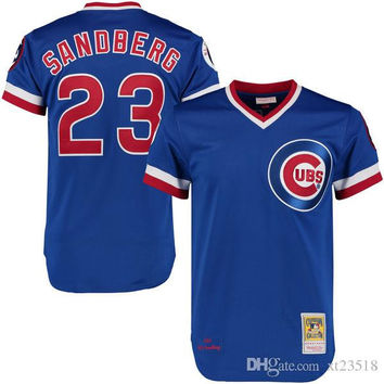 Mens cheap Chicago Cubs 1984 Ryne Sandberg Throwback Royal Pullover Jersey white gray 1990 23 Ryne Sandberg Cubs baseball Jersey S-3XL