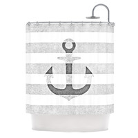 "Monika Strigel ""Stone Vintage Anchor Gray"" White Grey Shower Curtain"