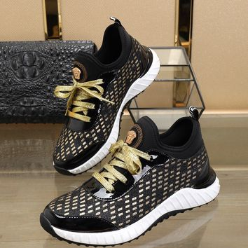 Versace Fashion Black/Gold Casual Women Men Sneakers Sport Shoes