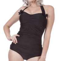 Rita Ruched Front Bow Back Onepiece Halter by FablesbyBarrie