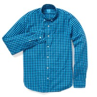 Washed Poplin - Overdye Bright Blue Gingham