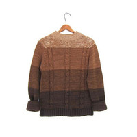 70s brown OMBRE sweater cable knit marled pullover RAGLAN sleeves 1970s pumpkin orange boho hipster grunge sweater womens small medium