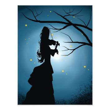 Victorian lady playing a violin photo print