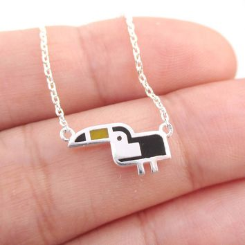 Tiny Atlantic Puffin Bird Shaped Enamel Charm Necklace in Silver | DOTOLY