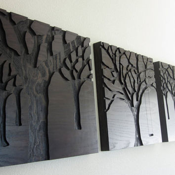 Rustic Modern Wall Art Triptych Set Large Wood Carvings Abstract