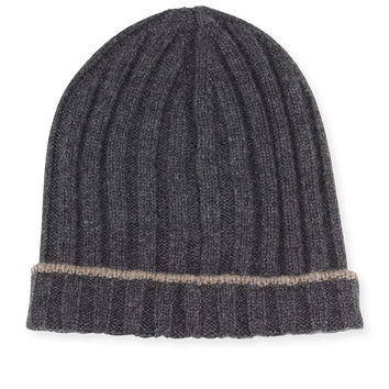 Ribbed Cashmere Hat with Fold-Over Brim, Gray/Brown, Size:
