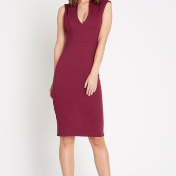 Larissa Deep V Bodycon Dress Burgundy