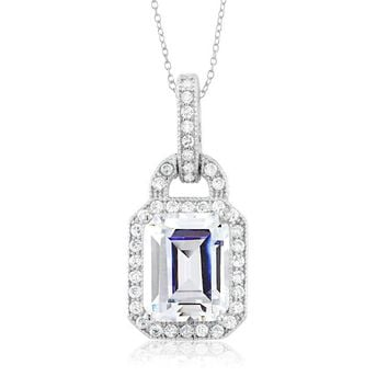 Sterling silver 10x8mm emerald cut CZ necklace
