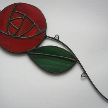 Stained glass rose Suncatcher flower Window decoration Art glass Flower pot decor