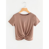 Twisted Front Crop T-shirt