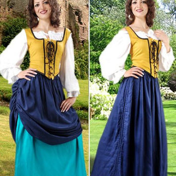 Double Layer Medieval Long Skirt Blue Petrol
