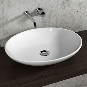 Gio White Oval Ceramic Vessel Sink Bowl Above Counter Sink Lavatory Washbasin