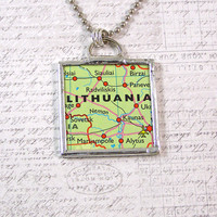 Lithuania Map Pendant Necklace