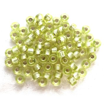Lot of 25 9mm Jonquil yellow green silver lined Czech glass pony roller beads, large hole crow beads, C4601