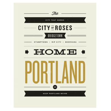 PORTLAND, Oregon City Poster - 11 x14 Typography Art Print, Monikers and Mottos, Modern Poster, Retro Home, Nursery, Vintage, Mid Century