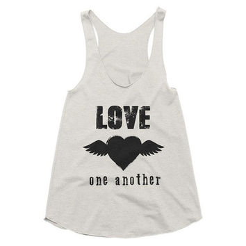 Love One Another Boho racerback tank, boho, Funny Tank, Yoga Shirt, Gym Shirt, Muscle, Gym Tank, Yoga Top, hot yoga, Gym Top, music