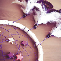 Dream Catcher - Pure Starlight - With Small Colorful Stars, White and Purple Feathers - Home Decor, Nursery Mobile
