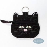 Black Cat Coin Purse Key Fob with glow in the dark eyes