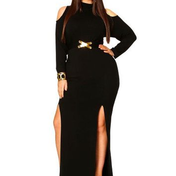 """Eva"" Cold Shoulder Double Slit Dress With Detachable Belt - Black - What's New - Monif C"