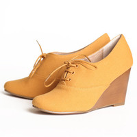 Chelsea Crew Sari oxford wedges in mustard - $64.99 : ShopRuche.com, Vintage Inspired Clothing, Affordable Clothes, Eco friendly Fashion