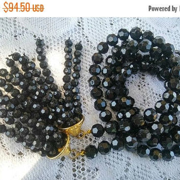 On Sale Long Vintage Flapper Length Black Lucite Necklace - Large Collectible 1960's Rare Jewelry High End Old Hollywood Glam Jewelry