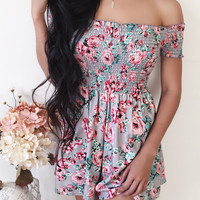 Nami Floral Off Shoulder Romper (GREY)