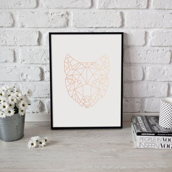 Wolf Print, Rose Gold Foil, Geometric Wolf, Wolf Art, Animal Poster, Wolf Wall Art, Nursery Print, Animal Decor, Bedroom Poster, Home Decor