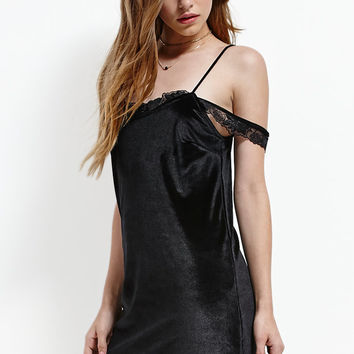 Motel Rocks Dels Velvet Cold Shoulder Slip Dress at PacSun.com