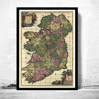 Vintage Map of Ireland 1700