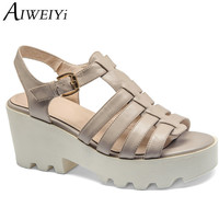 AIWEIYi Summer Women Sandals Genuine Leather Square High Heel Sandals Casual Open Toe Buckle Strap Platform Women Shoes
