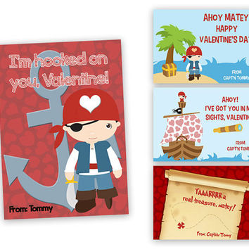 Pirate Valentines - Boys Classroom Valentines Day Cards - Pirates Valentine's Cards - Ahoy Sailboat Valentine - Arrr Matey - Kids Valentine