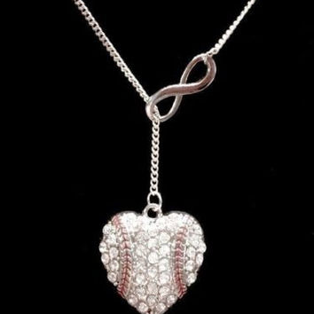 Crystal Baseball Heart Softball Mother Gift Infinity Lariat Necklace