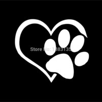 Heart Paw Vinyl Decal Car Truck Sticker Bumper Window Adopt Bully Heart Cat Dog Laptop Boat Truck Auto 8 Colors