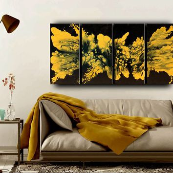4 Panel Wall Art Gold Yellow Modern Art Large Original Painting Home Decor Canvas Art Contemporary Living Room Decor, By Nandita Albright