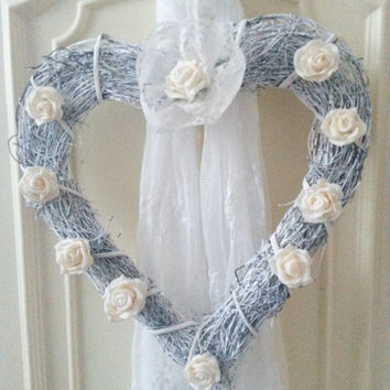 Rustic Wreath, natural wreath, wicker wreath, door wreath, willow hanging, heart wreath, flower wreath, wall hanging, door hanger, wreath