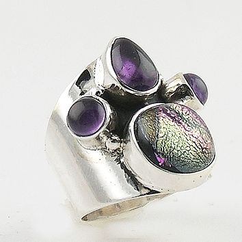 Amethyst & Dichroic Glass Sterling Silver Band Ring