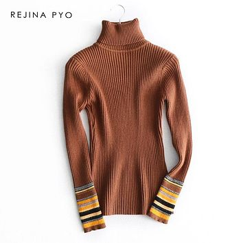 REJINAPYO Women Elegant Turtleneck Vertical Striped Slim Stretching Sweater Colorful Cuffs 2019 SpringWinter New Arrival
