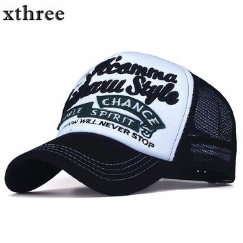 Xthree New 5 panels embroidery summer baseball cap casual mush cap men snapback hat for women casquette gorras