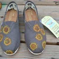 Hand Painted Toms Shoes  Sunflowers  Custom by solemateshoes