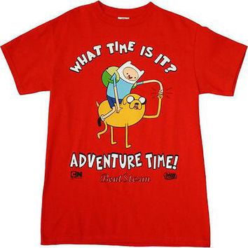 Licensed cool Adventure Time with Finn and Jake RED Tee Shirt  XL Fist Bump What Time is It?